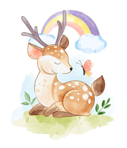 Cartoon herten zitten met vlinder en regenboog Premium Vector