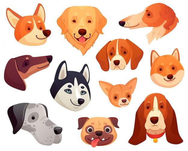 Cartoon hond hoofd. de grappige snuit van het puppyhuisdier, het glimlachen hondgezicht en honden geïsoleerde illustratieinzameling Premium Vector