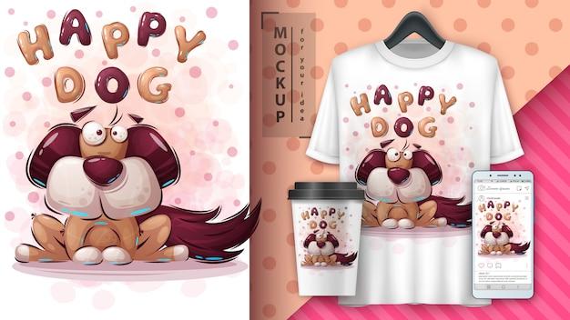 Cartoon hond poster en merchandising Premium Vector