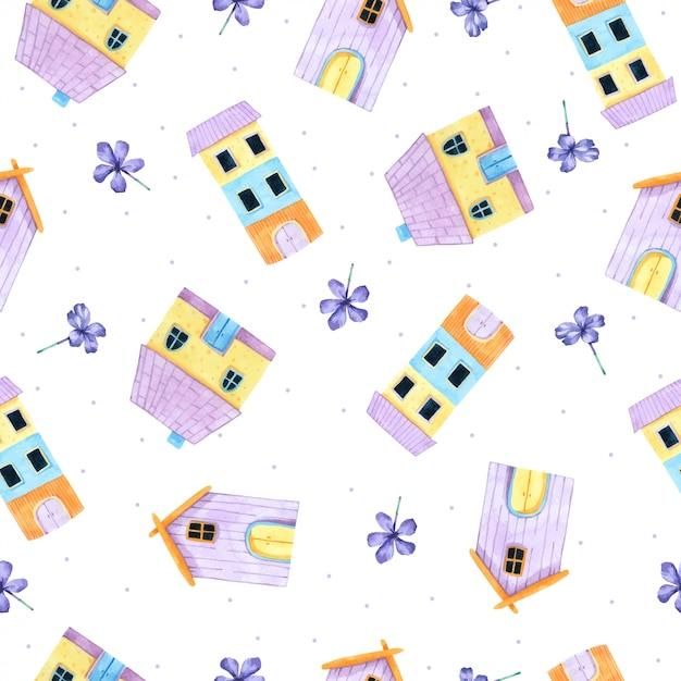 Cartoon huis naadloze patroon in aquarel Premium Vector
