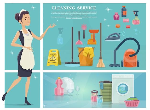 Cartoon huis schoonmaken samenstelling met meid wasmachine bezem handdoeken schone plaat glazen stofzuiger zeep zeep spons mop emmer Gratis Vector