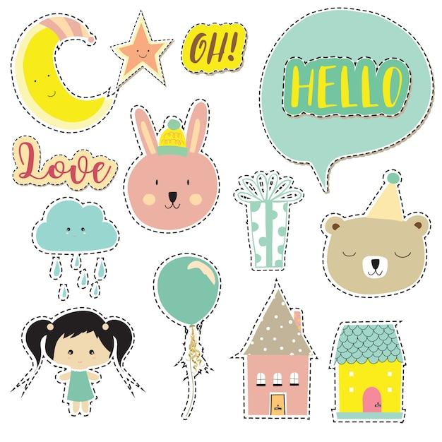 Cartoon icoon collectie met beer, wolk, maan, ster, huis Premium Vector