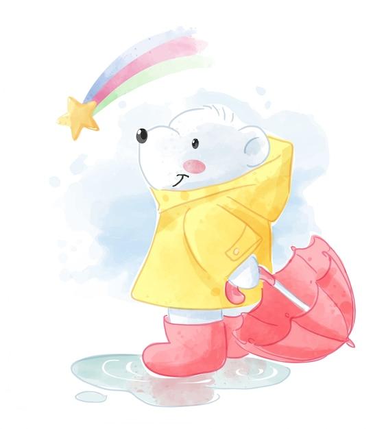 Cartoon ijsbeer in regenjas en regenboog illustratie Premium Vector