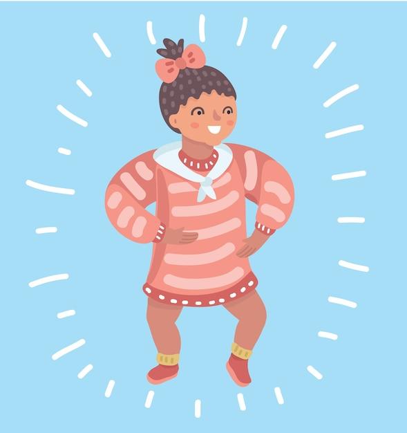 Cartoon illustation van baby kind baby meisje peuter probeert te lopen Premium Vector