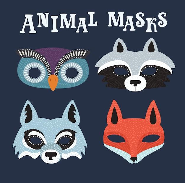 Cartoon illustation van van set tekenfilm dieren feestmaskers. wolf, das, uil, vos Premium Vector
