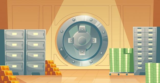 Cartoon illustratie van bankkluis binnen, metalen ijzeren kluisdeur. Gratis Vector