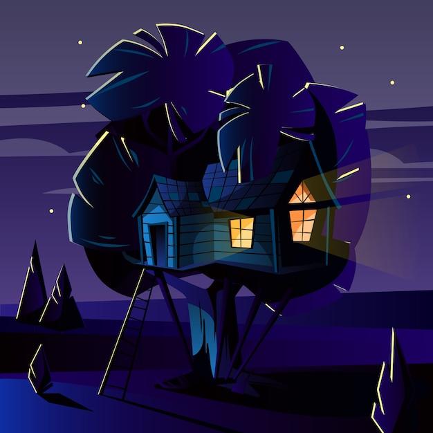 Cartoon illustratie van boomhut op donkere nacht, 's avonds. Gratis Vector