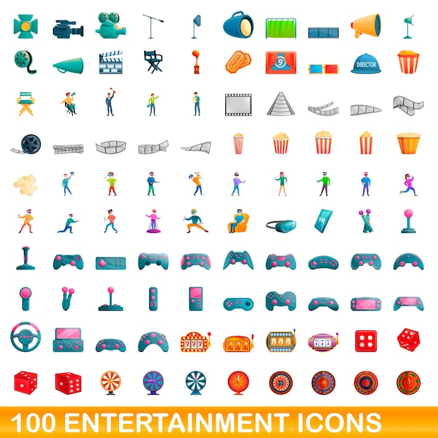 Cartoon illustratie van entertainment pictogrammen instellen geïsoleerd op wit Premium Vector
