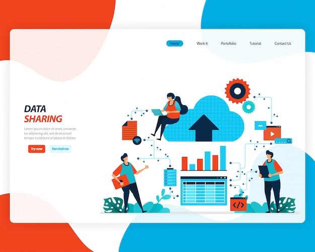 Cartoon illustratie van gegevensuitwisseling technologie, externe werknemer, netwerkindustrie, mensen verzenden werkbestand. cloudverbetering om te uploaden is effectief. Premium Vector