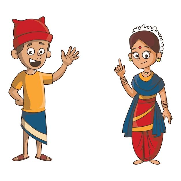 Cartoon illustratie van goa paar. Premium Vector