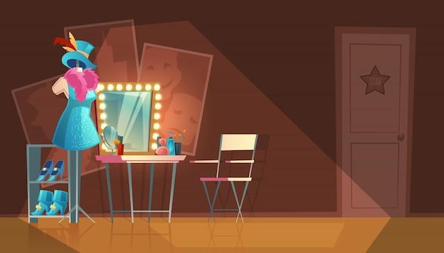Cartoon illustratie van lege kleedkamer, kledingkast met meubels, dressoir Gratis Vector