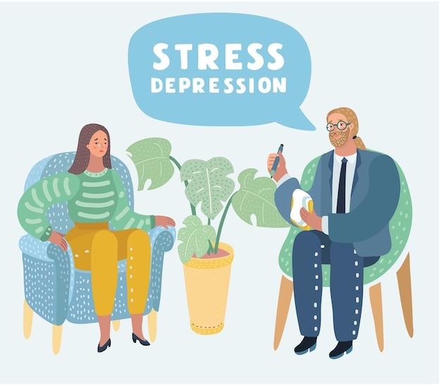 Cartoon illustratie van psychotherapie. vrouw in depressie en man psycholoog met verwarde en ontwarde hersenmetafoor, maatschappijpsychiatrie concept, maatschappijpsychiatrie concept. Premium Vector