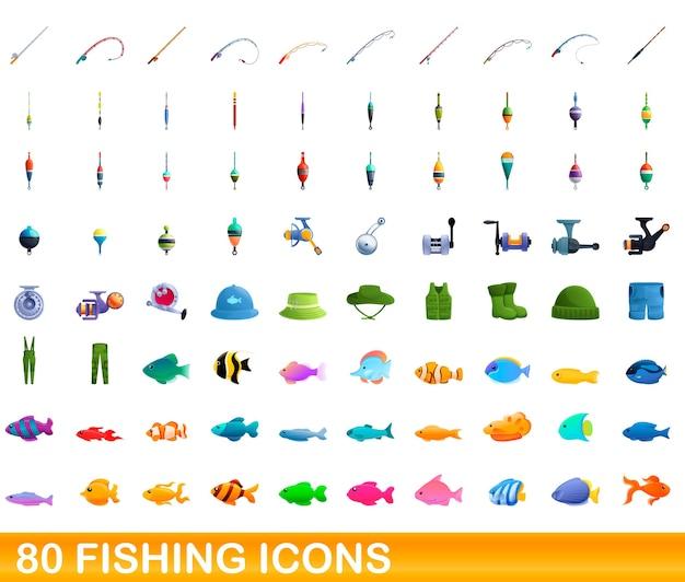 Cartoon illustratie van visserij pictogrammen instellen geïsoleerd op wit Premium Vector
