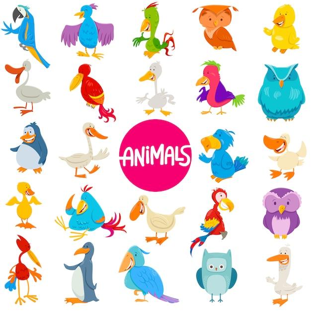 Cartoon illustratie van vogels dierlijke tekens instellen Premium Vector