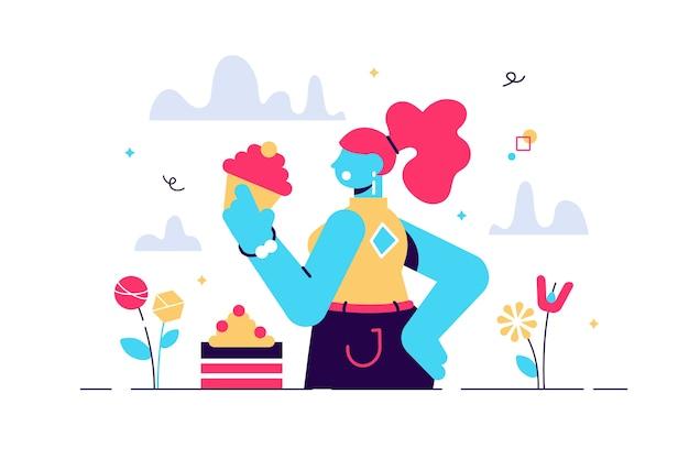 Cartoon illustratie van zoetekauw dame eten taart. dame die gretig snoep verslindt en bakkerijproductie. vrouwelijk grappig karakter in moderne stijl. Premium Vector