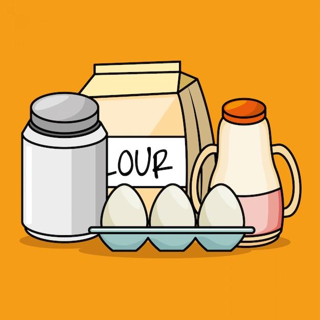 Cartoon ingrediënten ontbijt eieren meel sap Gratis Vector