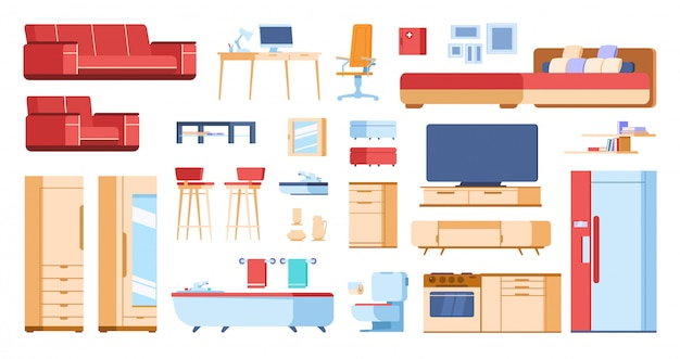 Cartoon interieur meubilair. huis woonkamer slaapkamer kast plat geïsoleerde bank kleerkast tafel. cartoons huiselementen Premium Vector