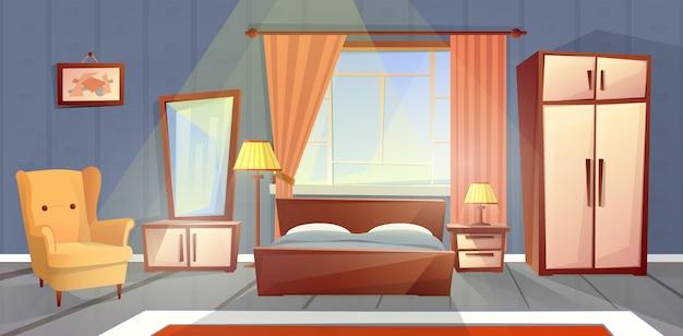 Cartoon interieur van gezellige slaapkamer met raam. levend appartement met meubilair Gratis Vector