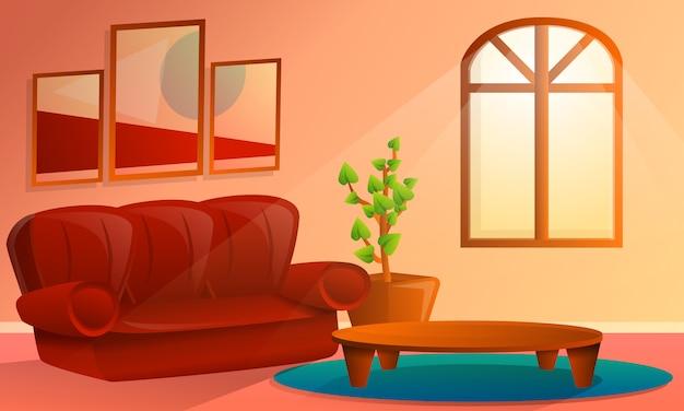 Cartoon interieur van woonkamer, vectorillustratie Premium Vector