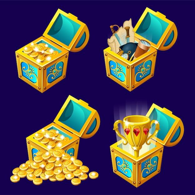 Cartoon isometrische kisten met schatten. Gratis Vector