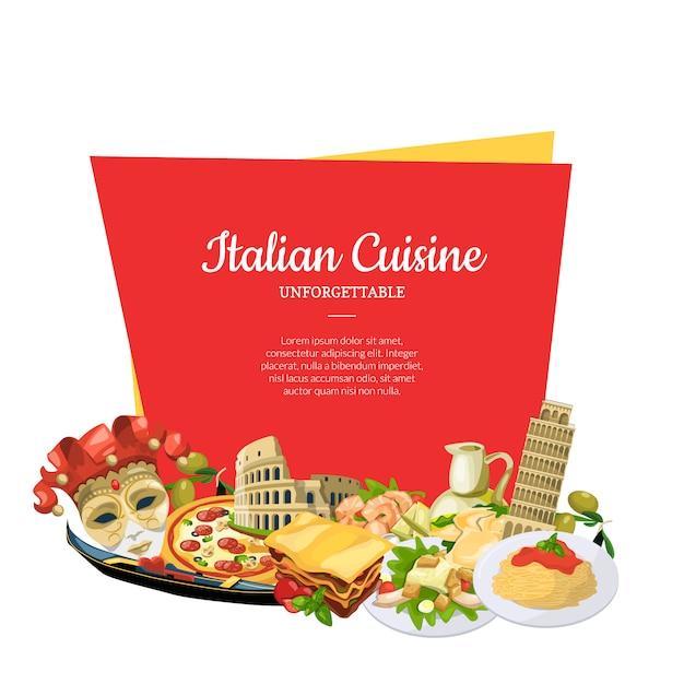 Cartoon italiaanse keuken elementen onder frame banner set Premium Vector