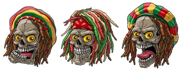 Cartoon jamaicaanse rasta schedels met dreadlocks Premium Vector