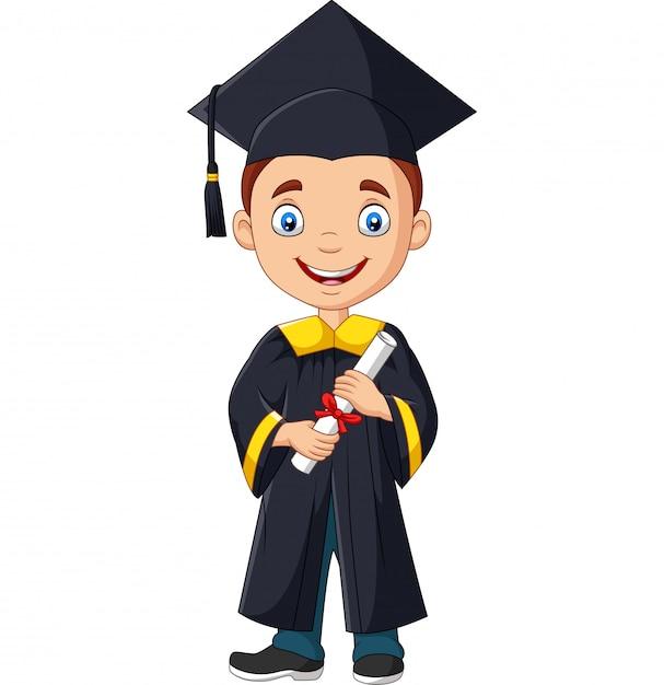 Cartoon jongen in afstuderen kostuum met een diploma Premium Vector