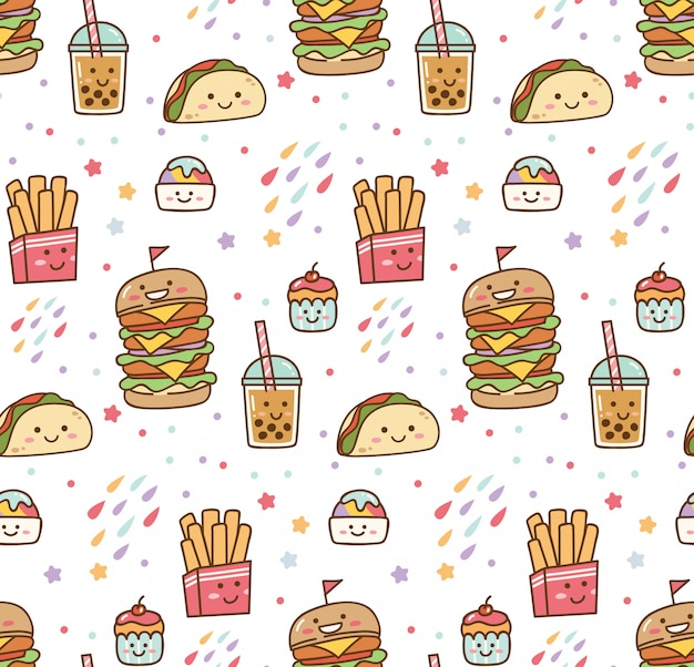 Cartoon junkfood kawaii naadloze patroon Premium Vector