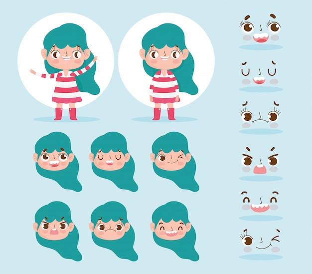 Cartoon karakter animatie meisje met groen haar en verschillende gebaar gezichten Premium Vector