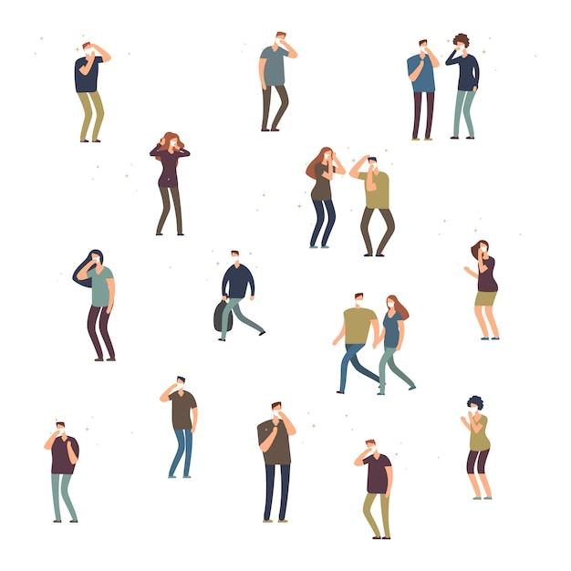 Cartoon karakter mensen, vrouwen en mannen in stofmasker geïsoleerd op een witte achtergrond Premium Vector