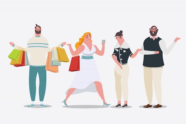 Cartoon karakter ontwerp illustratie. vrouwen die boodschappentassen dragen, lopen in de winkel. mannen dragen boodschappentassen. Gratis Vector