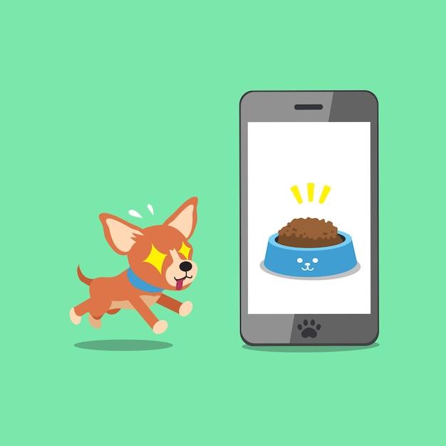 Cartoon karakter schattige chihuahua hond en smartphone Premium Vector