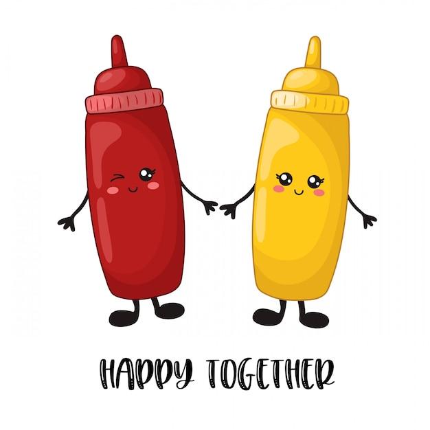 Cartoon kawaii eten - sfast food, ketchup, mosterd Premium Vector
