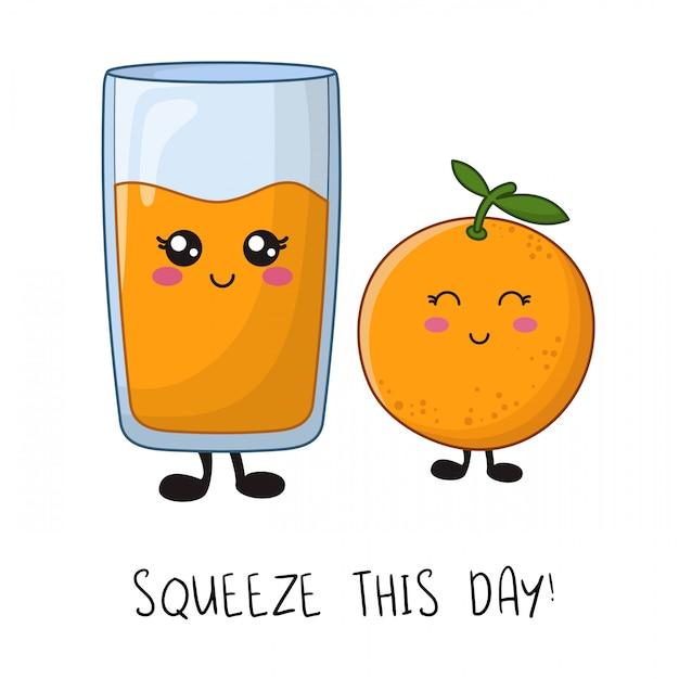 Cartoon kawaii tekens - oranje fruit en een glas sap Premium Vector