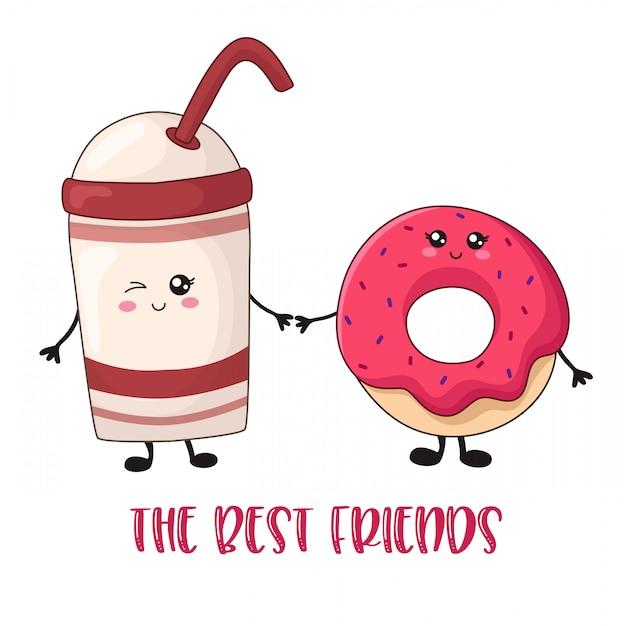 Cartoon kawaii zoet voedsel - koffie en doughnutkaart Premium Vector