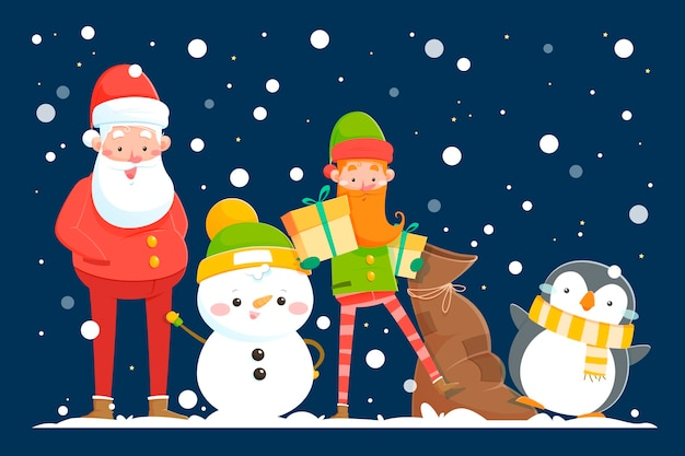 Cartoon kerst tekens collectie Gratis Vector