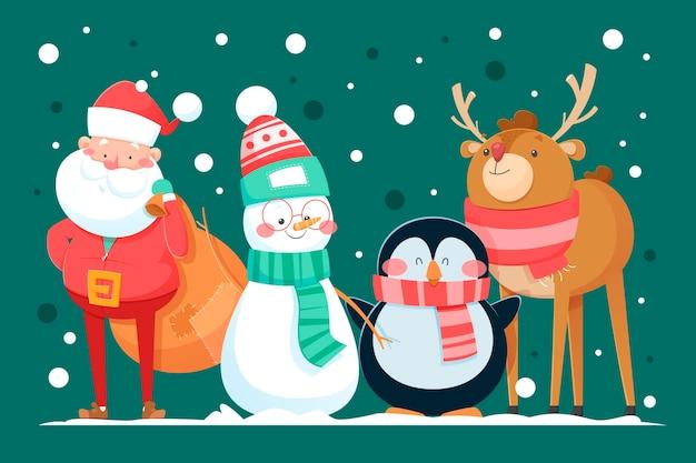 Cartoon kerst tekens collectie Gratis Vector