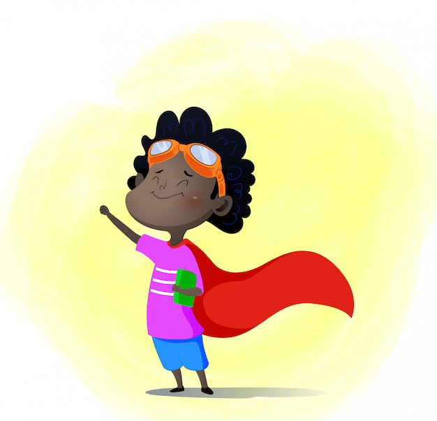 Cartoon kind spelen superheld met boek binnen Premium Vector