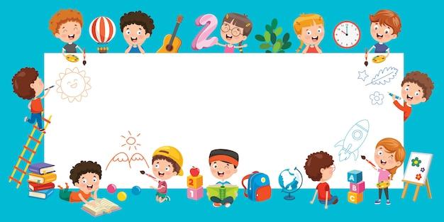 Cartoon kinderen met een frame Premium Vector