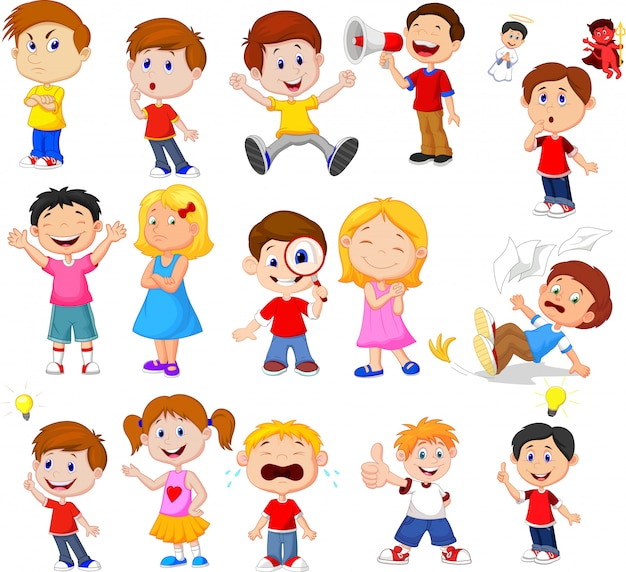 Cartoon kinderen met verschillende expressie Premium Vector