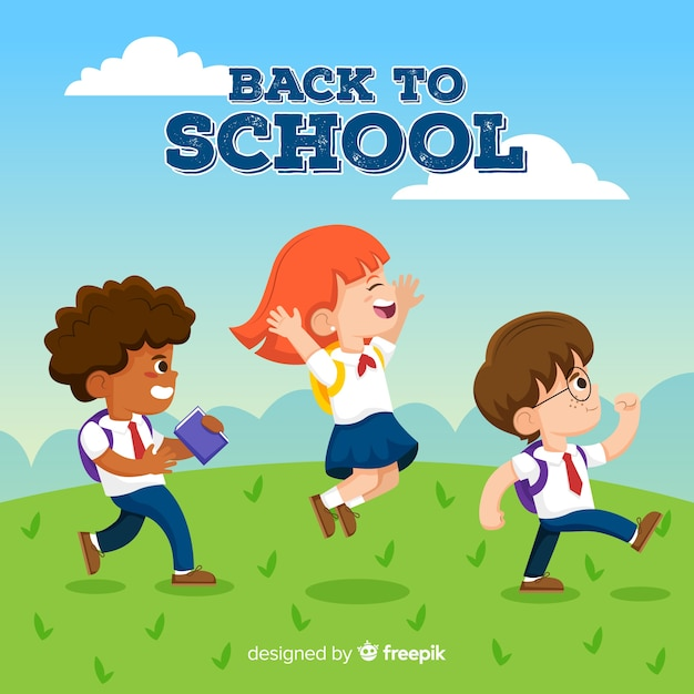 Cartoon kinderen terug naar school achtergrond Premium Vector
