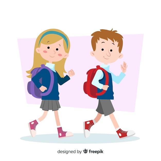 Cartoon kinderen terug naar school achtergrond Gratis Vector