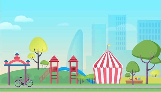 Cartoon kinderspeelplaats in de grote stad Premium Vector