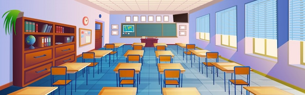 Cartoon klas interieur Premium Vector