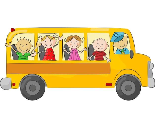 Cartoon klein kind in de gele bus Premium Vector