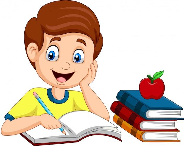 Cartoon kleine jongen studeren Premium Vector