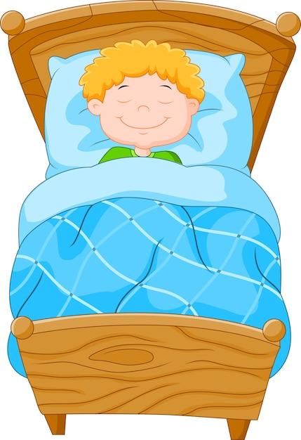 Cartoon kleine jongen viel in slaap Premium Vector