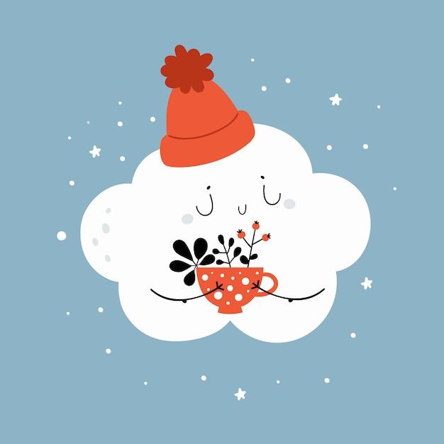Cartoon kleine wolk in hoed met kopje koffie, kruidenthee Premium Vector