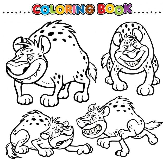 Cartoon kleurboek - hyena Premium Vector