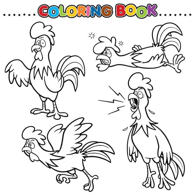 Cartoon kleurboek - kip Premium Vector